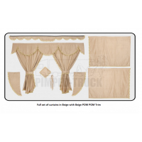 Scania Beige curtains with PomPom tassels