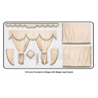 Scania Beige curtains with long tassels