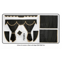 Scania Black curtains with PomPom tassels