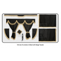 Mercedes Black curtains with classic tassels