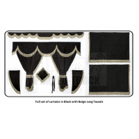 Scania Black curtains with long tassels