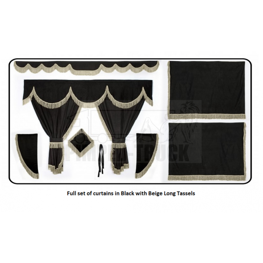 Daf Black curtains with long tassels