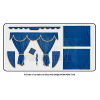 Iveco Blue curtains with PomPom tassels