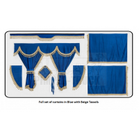 Volvo Blue curtains with classic tassels