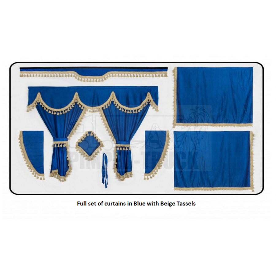 Scania Blue curtains with classic tassels