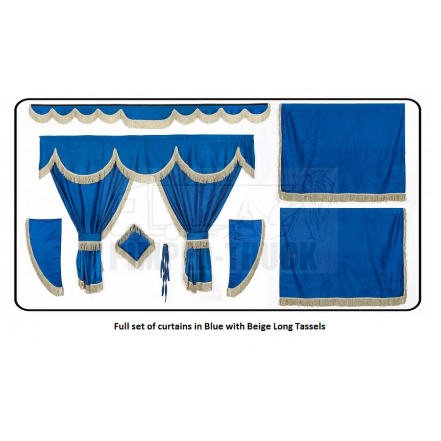 Volvo Blue curtains with long tassels