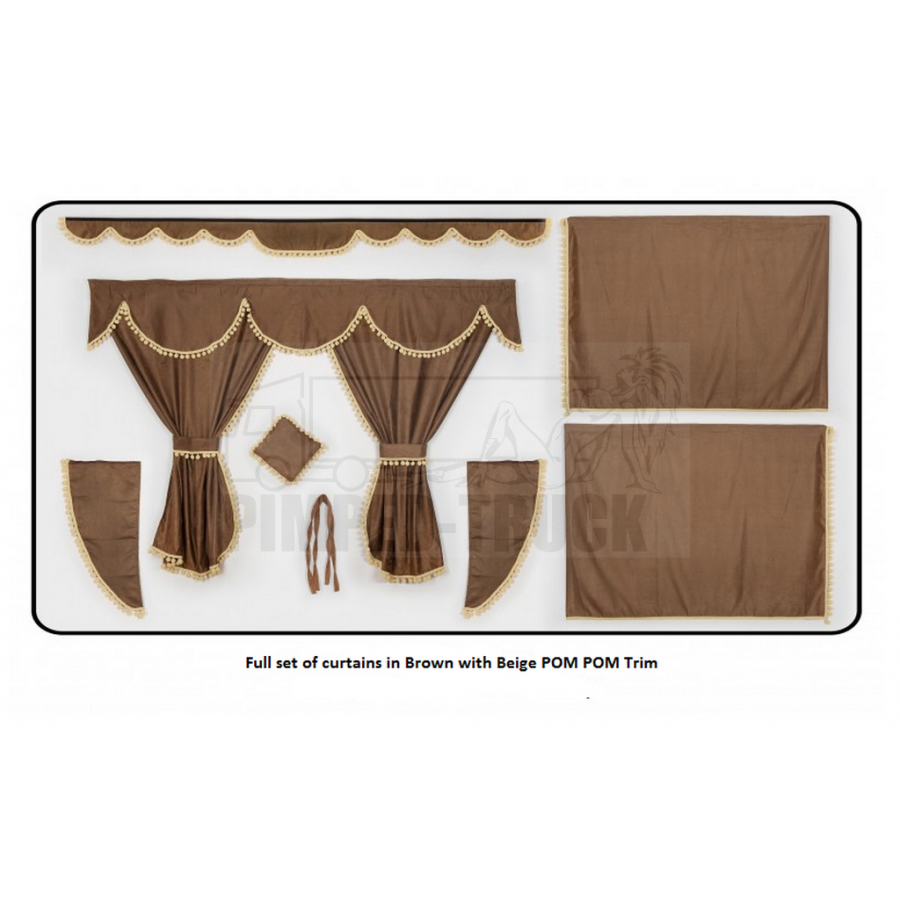 Volvo brown curtains with pompom tassels for Brown curtains png