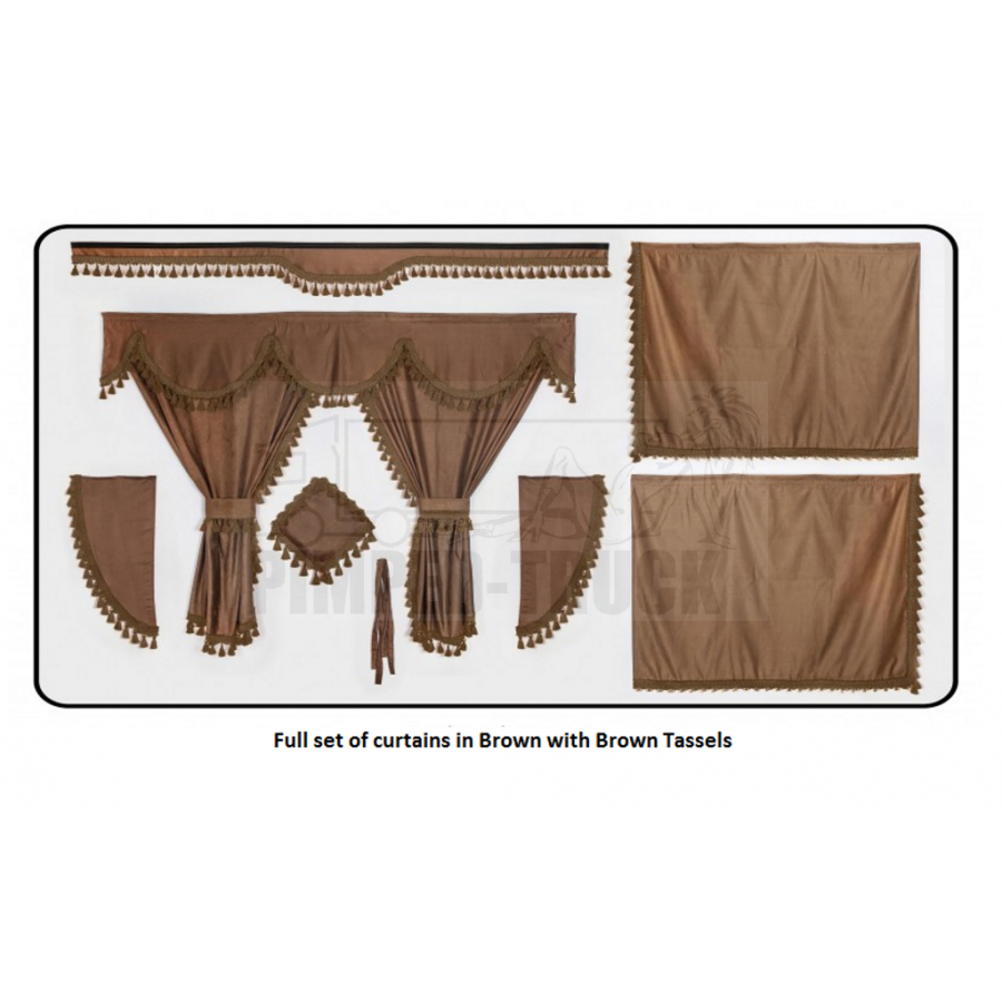 Volvo brown curtains with classic tassels for Brown curtains png
