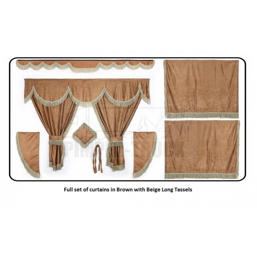Daf brown curtains with long tassels for Brown curtains png