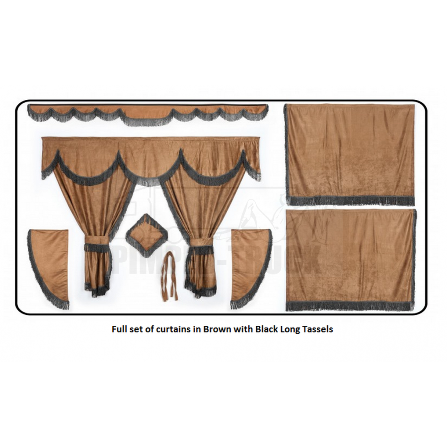 Man brown curtains with long tassels for Brown curtains png