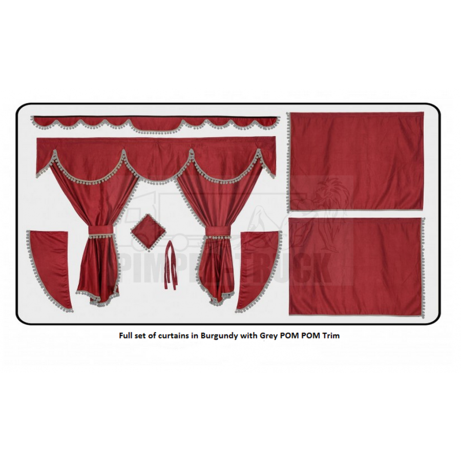 Mercedes Burgundy curtains with PomPom tassels
