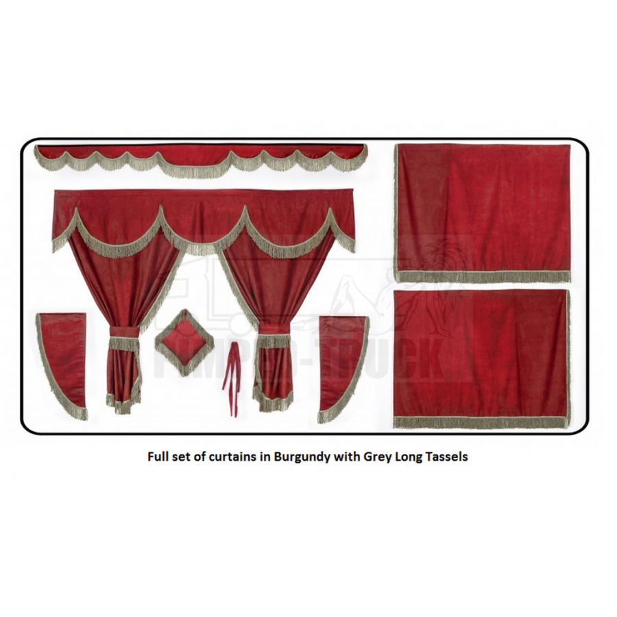 scania burgundy curtains with long tassels