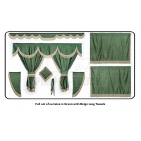 Daf Green curtains with long tassels