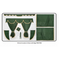 Mercedes Green curtains with PomPom tassels