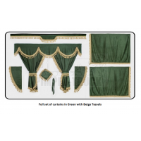 Volvo Green curtains with classic tassels