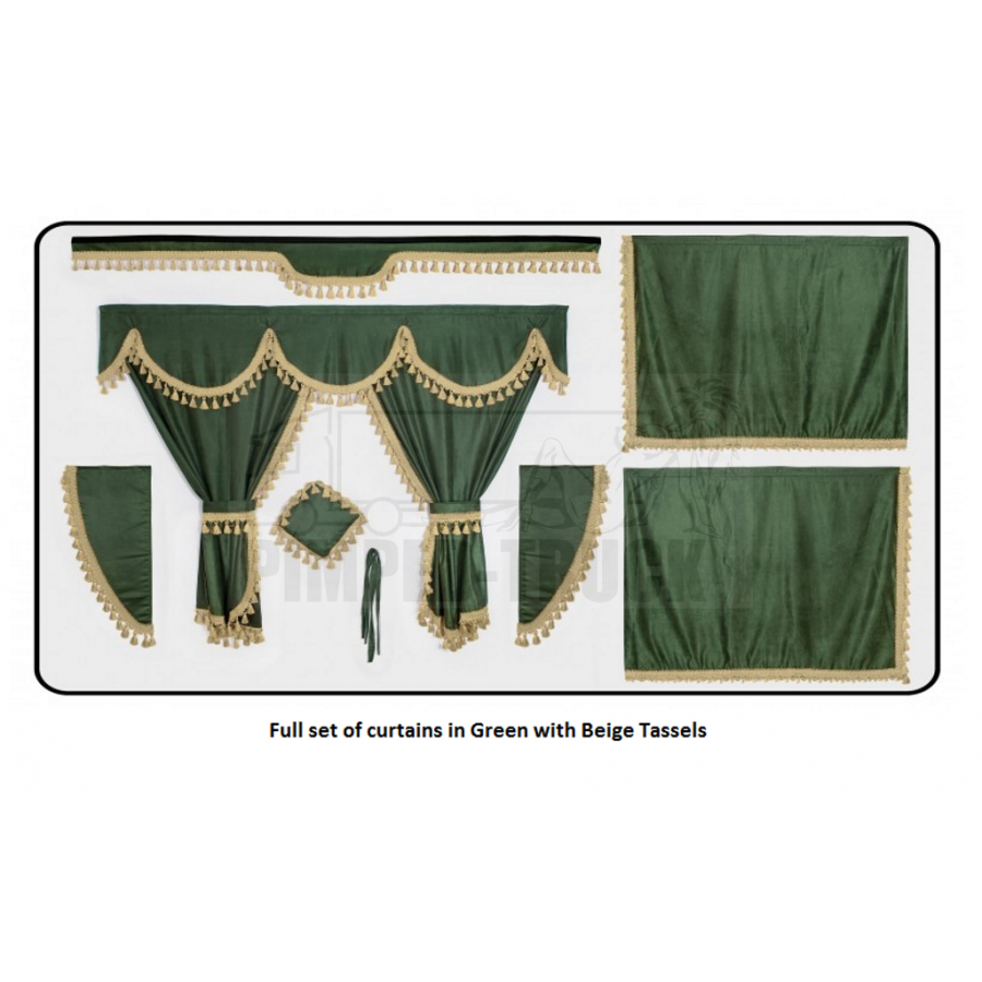 Scania Green curtains with classic tassels