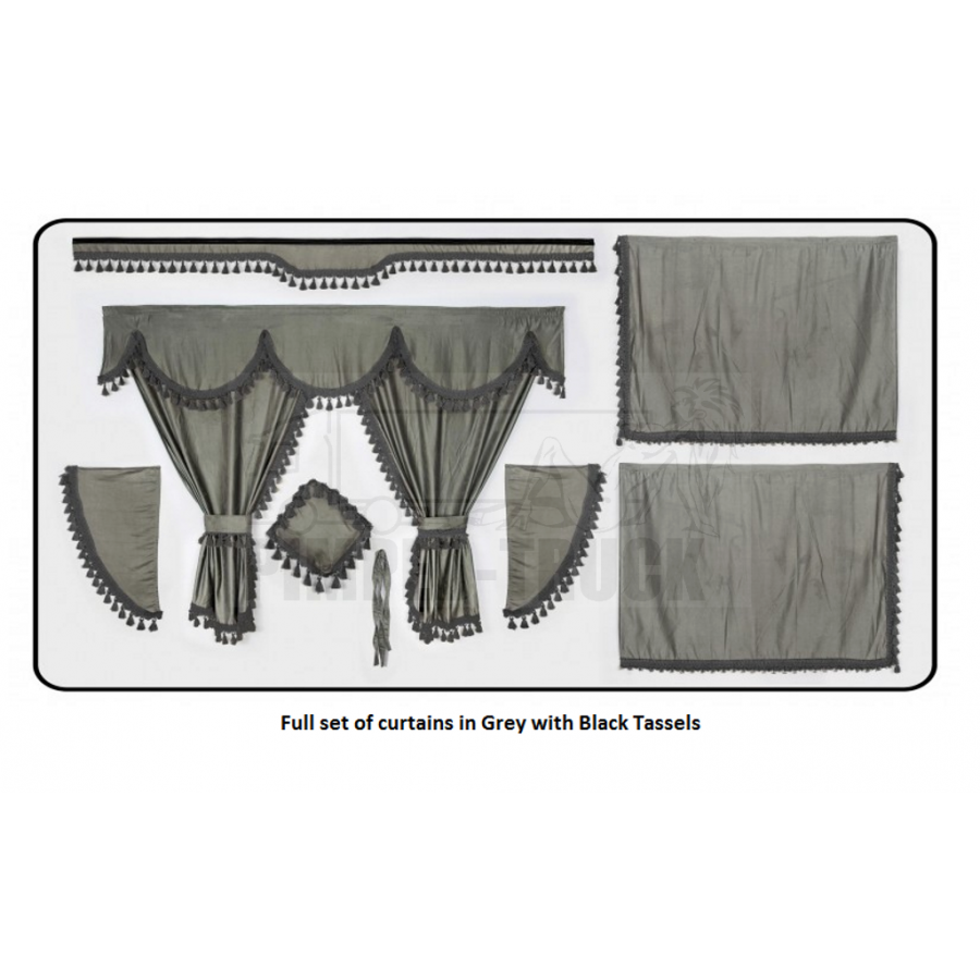 Scania Grey curtains with classic tassels