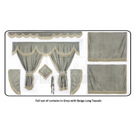 Daf Grey curtains with long tassels