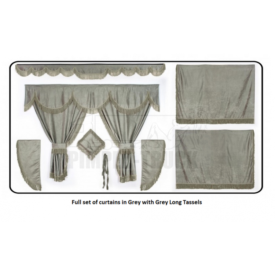 Man grey curtains with long tassels for Gray curtains png