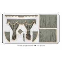 Mercedes Grey curtains with PomPom tassels