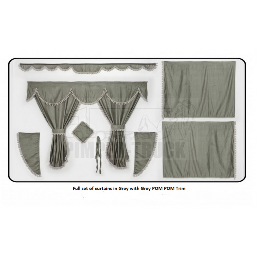 Scania grey curtains with pompom tassels for Gray curtains png