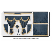 Scania Navy Blue curtains with classic tassels