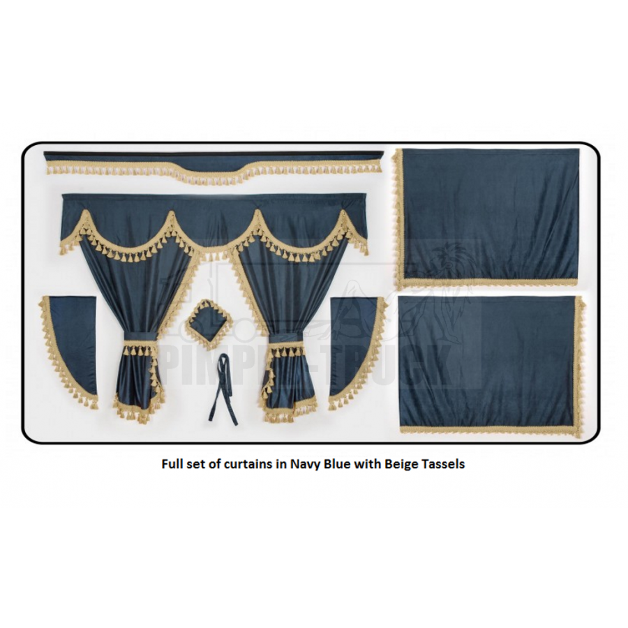 Scania Nave Blue curtains with classic tassels