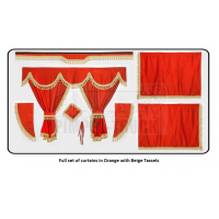 Volvo Orange curtains with classic tassels
