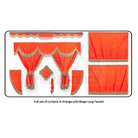 Daf Orange curtains with long tassels