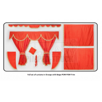 Mercedes Orange curtains with PomPom tassels