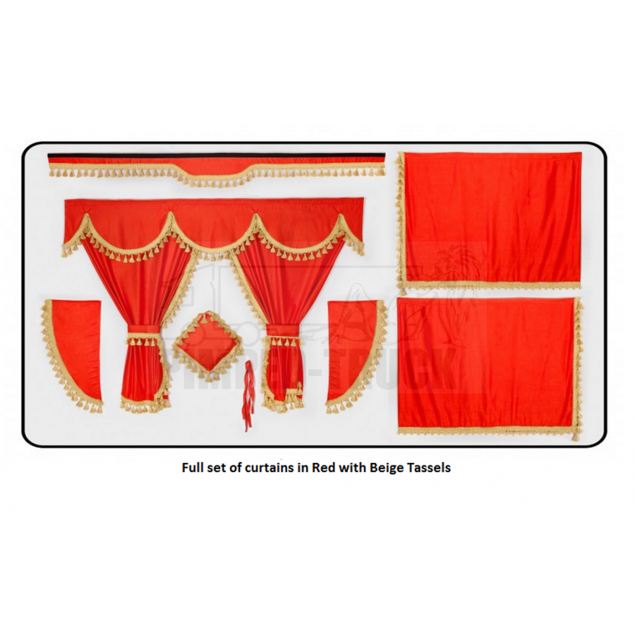 Scania Red curtains with classic tassels