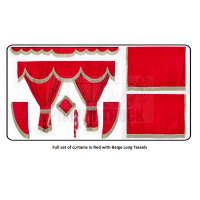 Iveco Red curtains with long tassels
