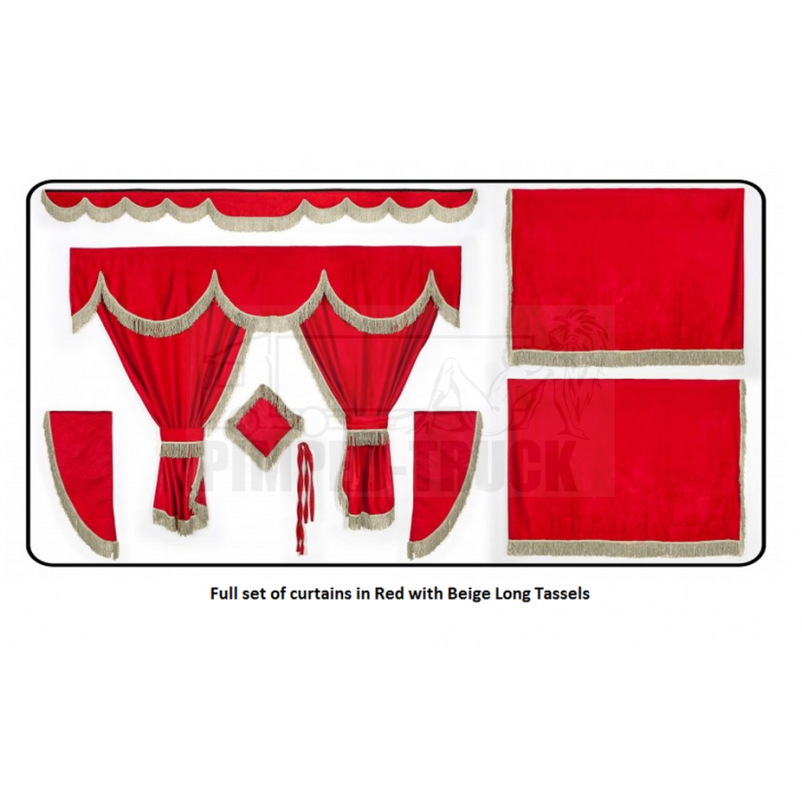 Daf Red curtains with long tassels