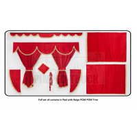 Mercedes Red curtains with PomPom tassels